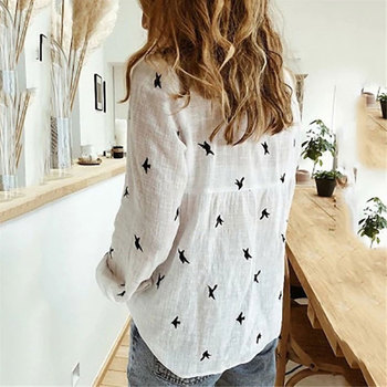 Casual Long Sleeve Birds Print Loose Shirts Women Cotton and Linen Blouses and Tops Vintage Streetwear Plus Size 5XL Tunic 5