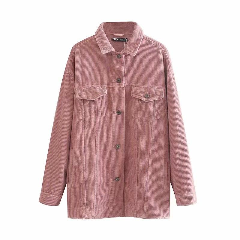 Femmes automne velours côtelé chemise rayé régulier lâche blazer à manches longues filles hiver blouse femme blouses blazers