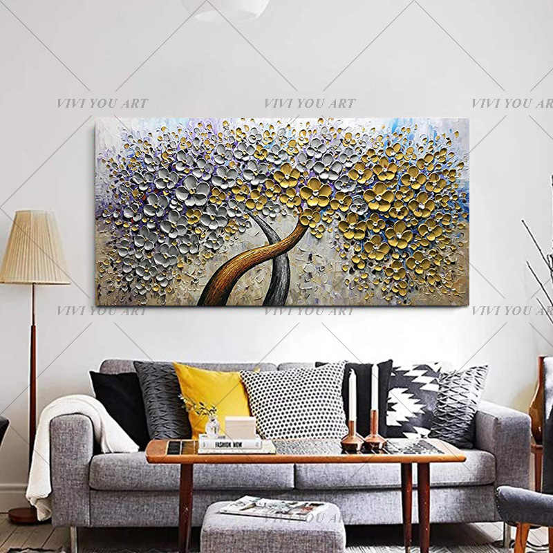100% Hand-Painted Palette Knife Art Golden Money Flower Tree Oil Painting Home Wall Art On Canvas Decorative Weeding Art Work