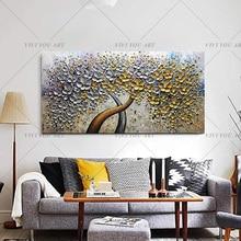 رسمت باليد سكين الذهب شجرة النفط الطلاء على قماش لوحة كبيرة ثلاثية الأبعاد لوحات لغرفة المعيشة الحديثة مجردة صور فنية للجدران