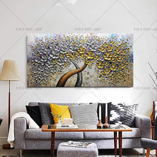 Handpainted Abstract Money TreeOil Paintings On Canvas Golden Tree Hang Wall Picture Modern Decor Free Shipping Art