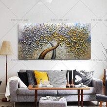 יד צבוע סכין זהב עץ שמן על בד גדול צבעים 3D לסלון מודרני מופשט קיר אמנות תמונות