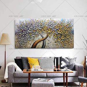 Image 1 - Handgemalte Messer Gold Baum Ölgemälde Auf Leinwand Große Palette 3D Gemälde Für Wohnzimmer Moderne Abstrakte Wand Kunst bilder