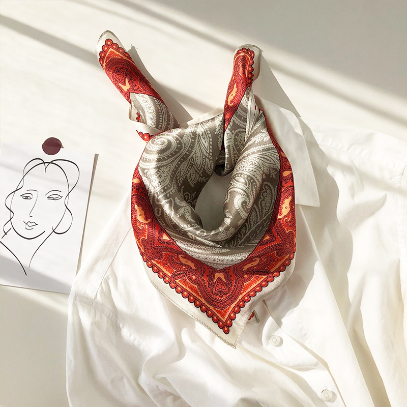 100/% Silk Scarf Vintage Boho Style Paisley Dot Print Neckerchief Bow Tied 53cm