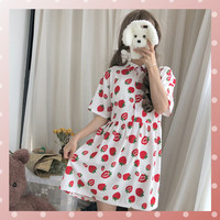 Sweet Cute Strawberry Print Girls Dress Chic Turn Down Collar Bandage Waist Student Shirts Dress Short Sleeve Loose Summer Dress