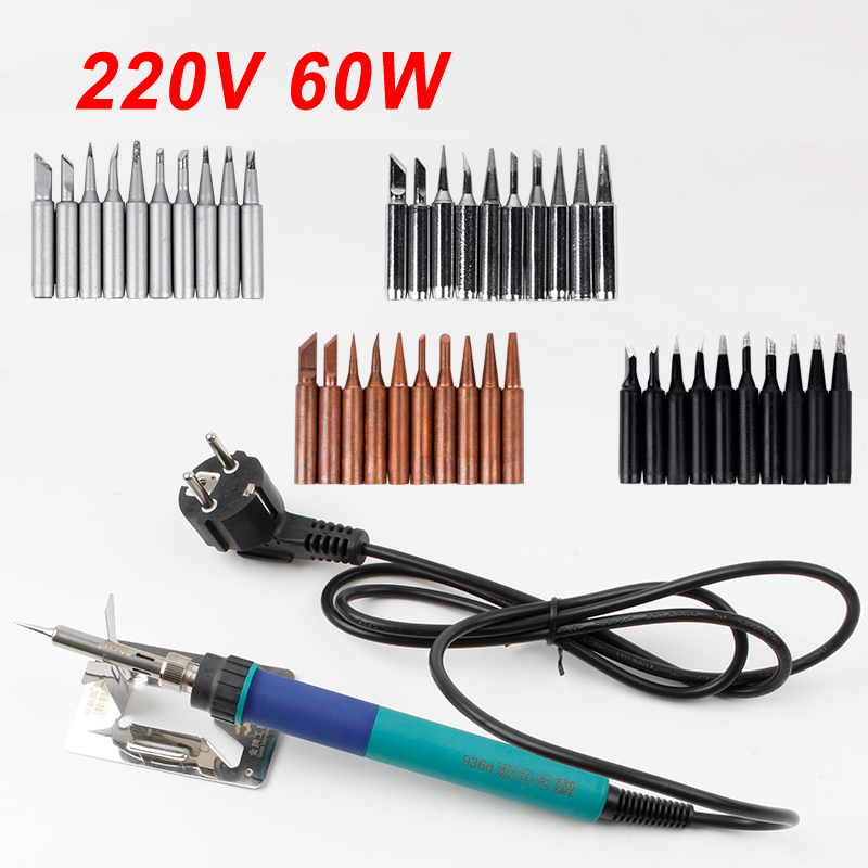 CXG 936d New Adjustable Temperature Electric Soldering Iron For Soldering Set  220V  60W  Pyrography 10pcs Tips Soldering Tools