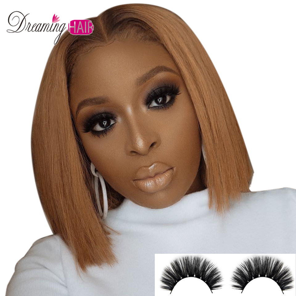 Brazilian Glueless 13x6 Lace Front Human Hair Wigs Straight Brown 1b 30 Color Black Short Bob Wig For Women Bob Wig Remy 150%