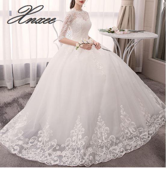 2019 printemps et été nouvelle dentelle à manches longues robe de mariée douce grande taille taille haute Qi robe de mariée femme Vestido de novia