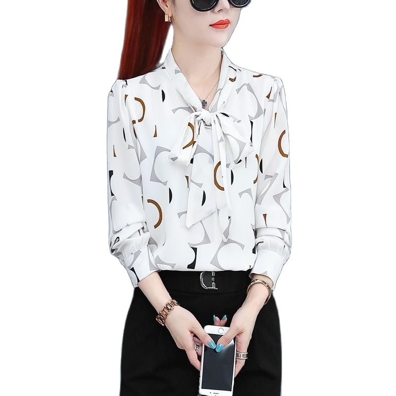 Chiffon Shirt  New Annals Dress In 2020 Foreign Style Fashion Undies Women's Long Sleeve Top Spring And Autumn Blouse Gir 4