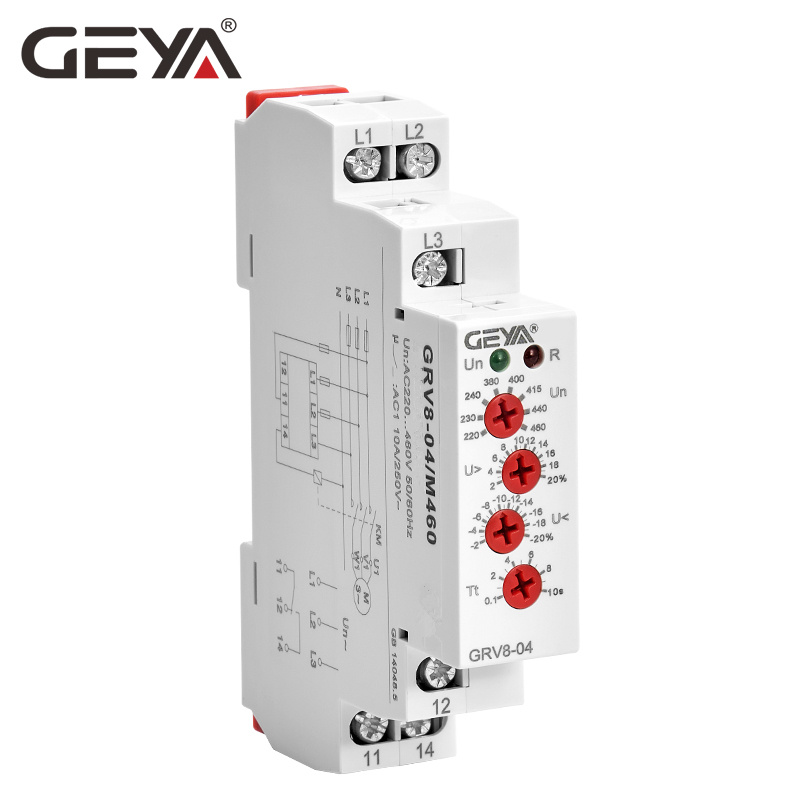 Free Shipping GEYA GRV8-04 Three Phase Voltage Control Relay Sequence Failure Over Undervoltage Protection