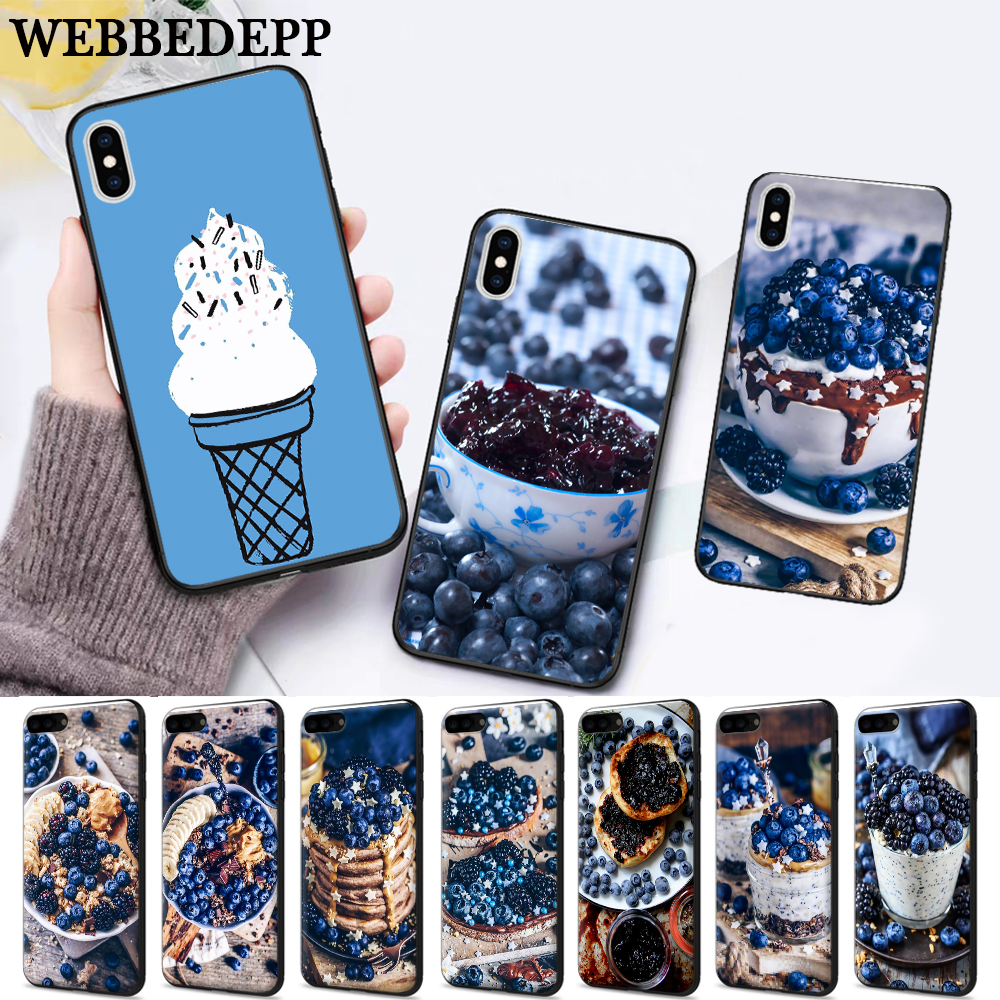 WEBBEDEPP Blueberry Exquisite Silicone soft Case for iPhone 5 SE 5S 6 6S Plus 7 8 11 Pro X XS Max XR