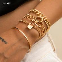 SHIXIN 5 adet Punk zincir bileklik bilezik seti kadınlar için kalın altın/gümüş renk Charm kilit bilezikler moda el zincirleri takı