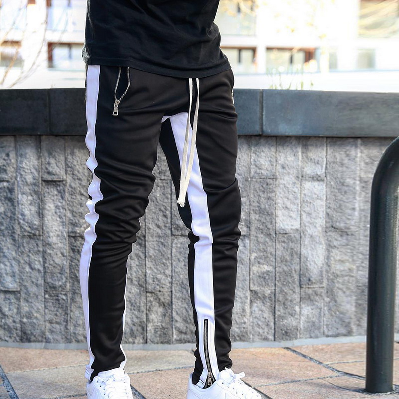 Mens Joggers zipper Casual Pants Fitness Sportswear Tracksuit Bottoms Skinny Sweatpants Trousers Black Gyms Jogger Track Pants
