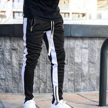 Męskie biegaczy zipper Casual spodnie odzież sportowa spodnie dresowe obcisłe spodnie dresowe spodnie czarne siłownie Jogger spodnie do biegania tanie i dobre opinie MJARTORIA Harem spodnie Pełnej długości Plisowana skinny Poliester Midweight Suknem NONE Na co dzień Sznurek M152242+M148231+M159899