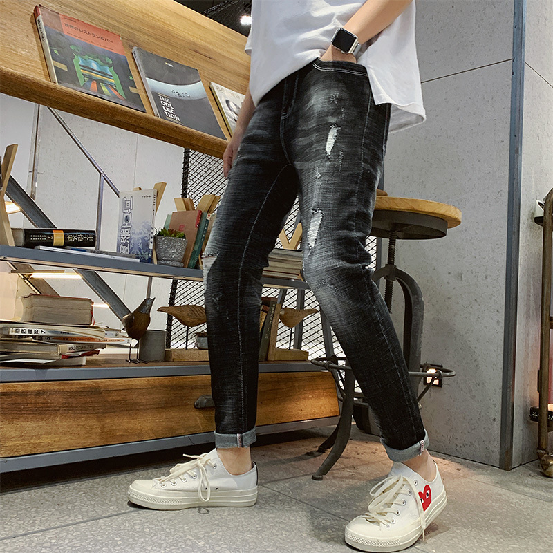 Men With Holes Capri Jeans Popular Brand Black And White With Pattern Straight-Cut Korean-style Trend Slim Fit Pants 9 Points Pa