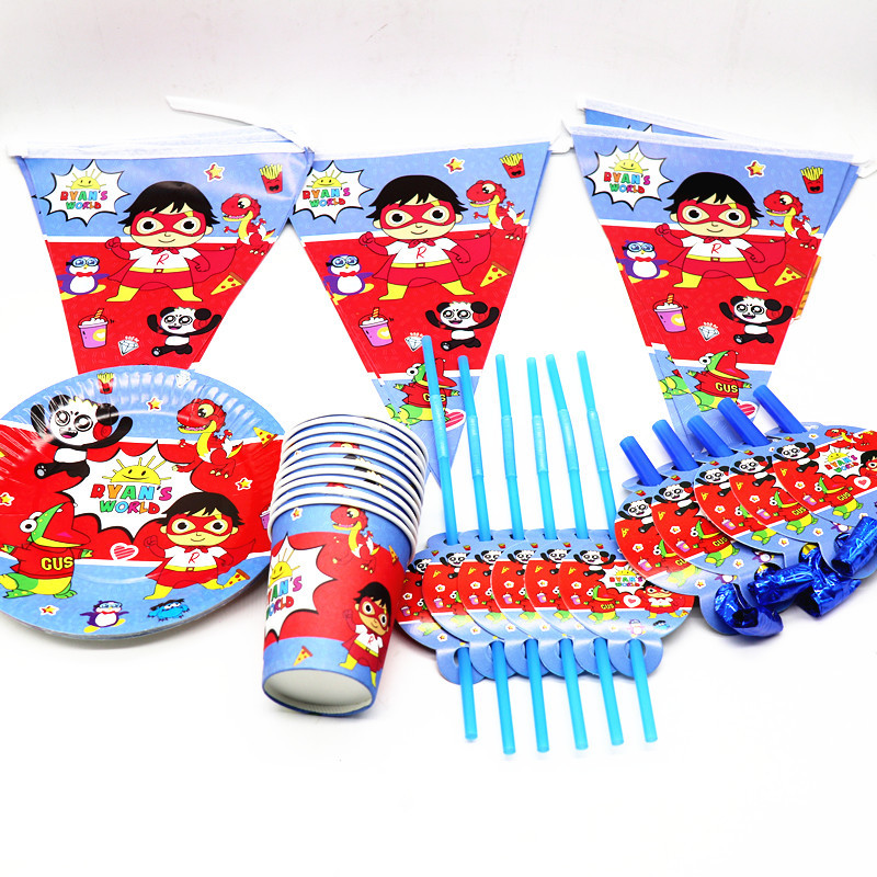 Cartoon Ryan's World Happy Birthday Party Supplies Paper Cups Plates Straw Banner Ryans Toys Baby Shower Decoration