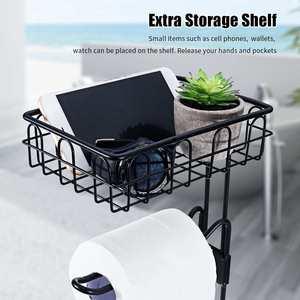 Image 4 - 金属床立ち紙ロールタオルホルダーオーガナイザースタンドトイレットペーパーラック浴室ハードウェア垂直収納バスケット黒