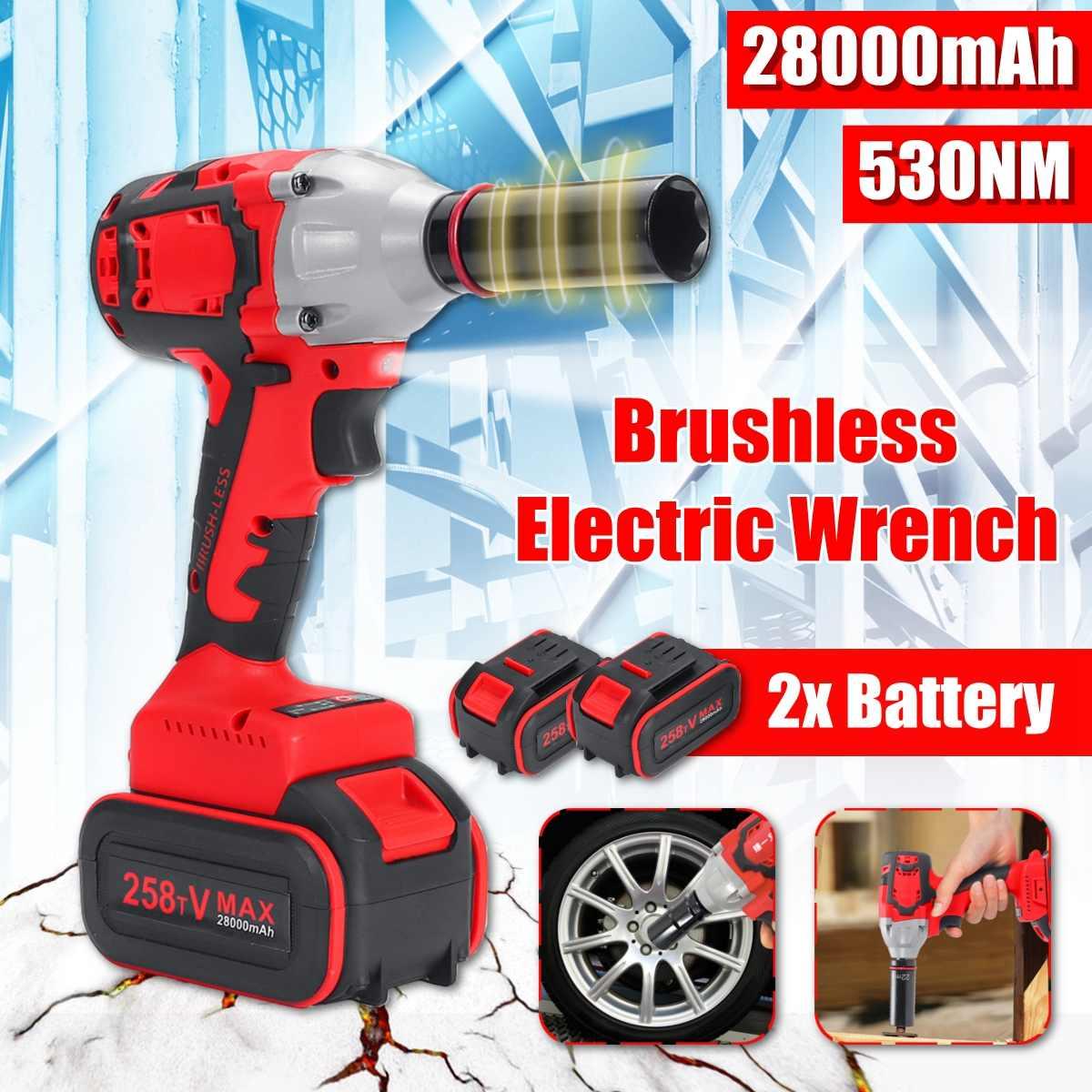 21V 8AH Brushless Cordless Impact Electric Wrench 530Nm 28000mah Torque Household Car/SUV Wheel 1/2
