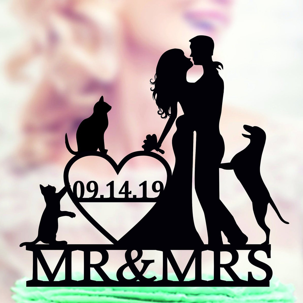 Personalized Wedding Cake Topper With Dog And Cat Couple Wedding Cake Topper Dog With Mr And Mrs Date Cake Topper Cake Decorating Supplies Aliexpress