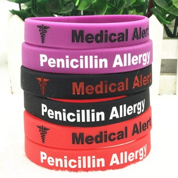 1Pc Medical Alert Penicillin Allergy Silicone Wristband Red Armband Nurse Bangles Adult Size Gifts 1