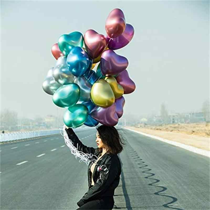Gihoo 10 pçs coração brilhante metal látex balões cromo grosso metálico balão para casamento dia dos namorados decorações de festa evento