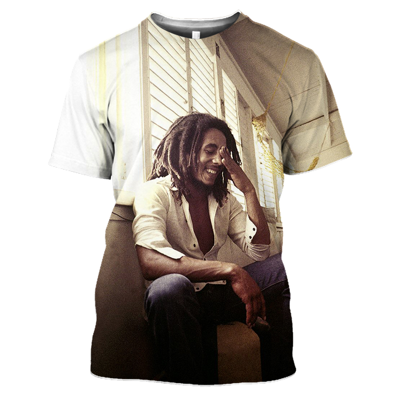 Bob Marley Rock Hip Hop T Shirt Men Male Summer Plus Size Streetwear Casual Short Sleeve Round Neck Weeds Reggae Star T-Shirt (10)