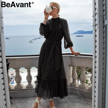 BeAvant, красное платье в горошек, Осень-зима, женское, элегантное, с рукавом-фонариком, длинное, для вечеринок, с рюшами, с круглым вырезом, черно...