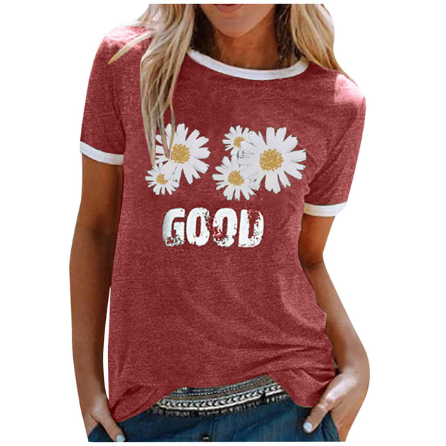 Harajuku T-Shirt Women Daisy Flower Print T Shirts Summer Top Tee O-Neck Short Sleeve Patchwork Tshirts Plus Size Streetwear 1