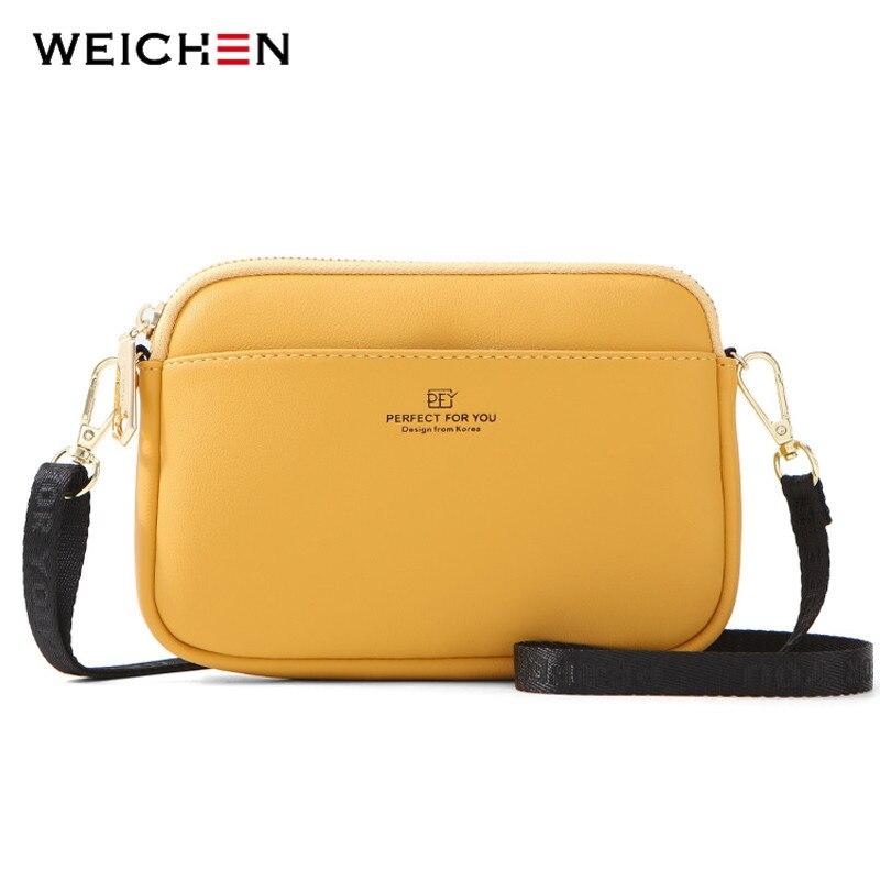 WEICHEN Fashion Small Shoulder Chest Crossbody Bags Women Soft Leather Ladies Messenger Bag Multifunction Bolsa Sac Female Bolso