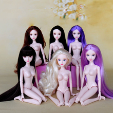 1pc 12inch Naked Moveable 16 Jointed DIY Doll with 3D Real Eyes and Long Hair Head For 30cm 1/6 BJD Girls Toy Gifts