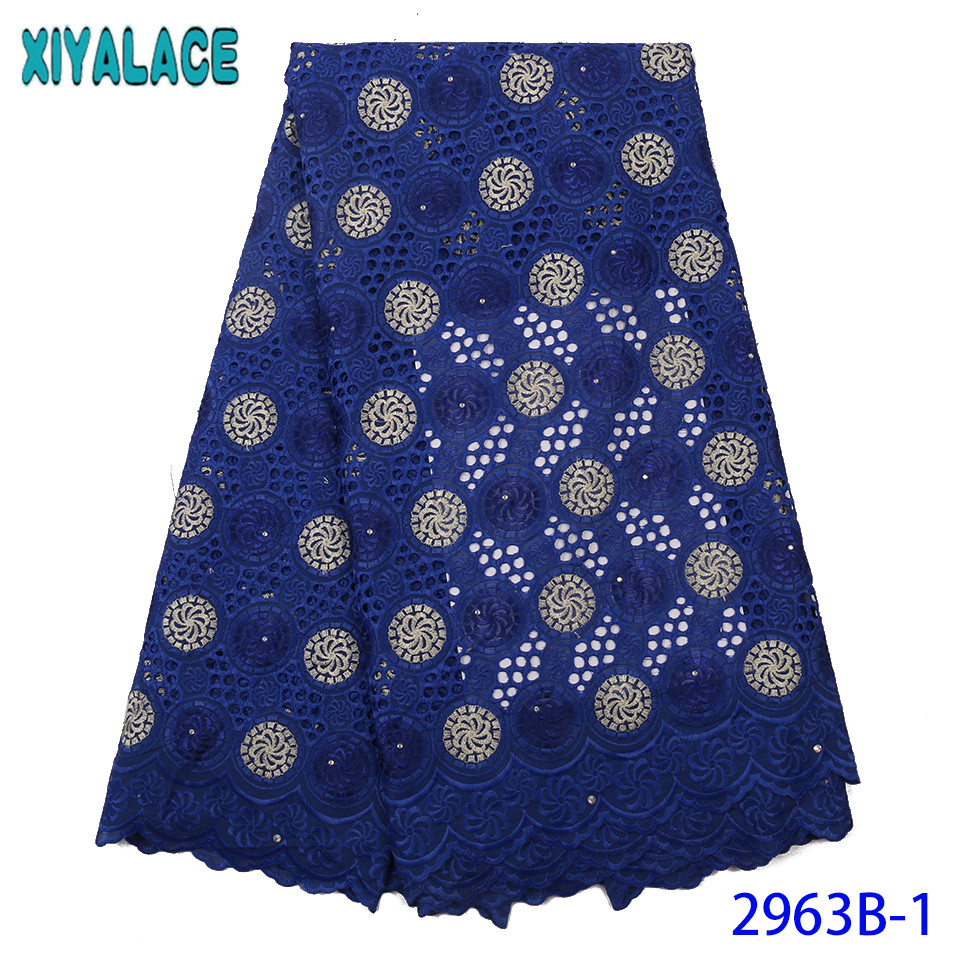 African Dry Lace Fabric 2019 High Quality Lace Royal Blue Cotton Fabric Lace With Rhinestones For Women KS2963B-1