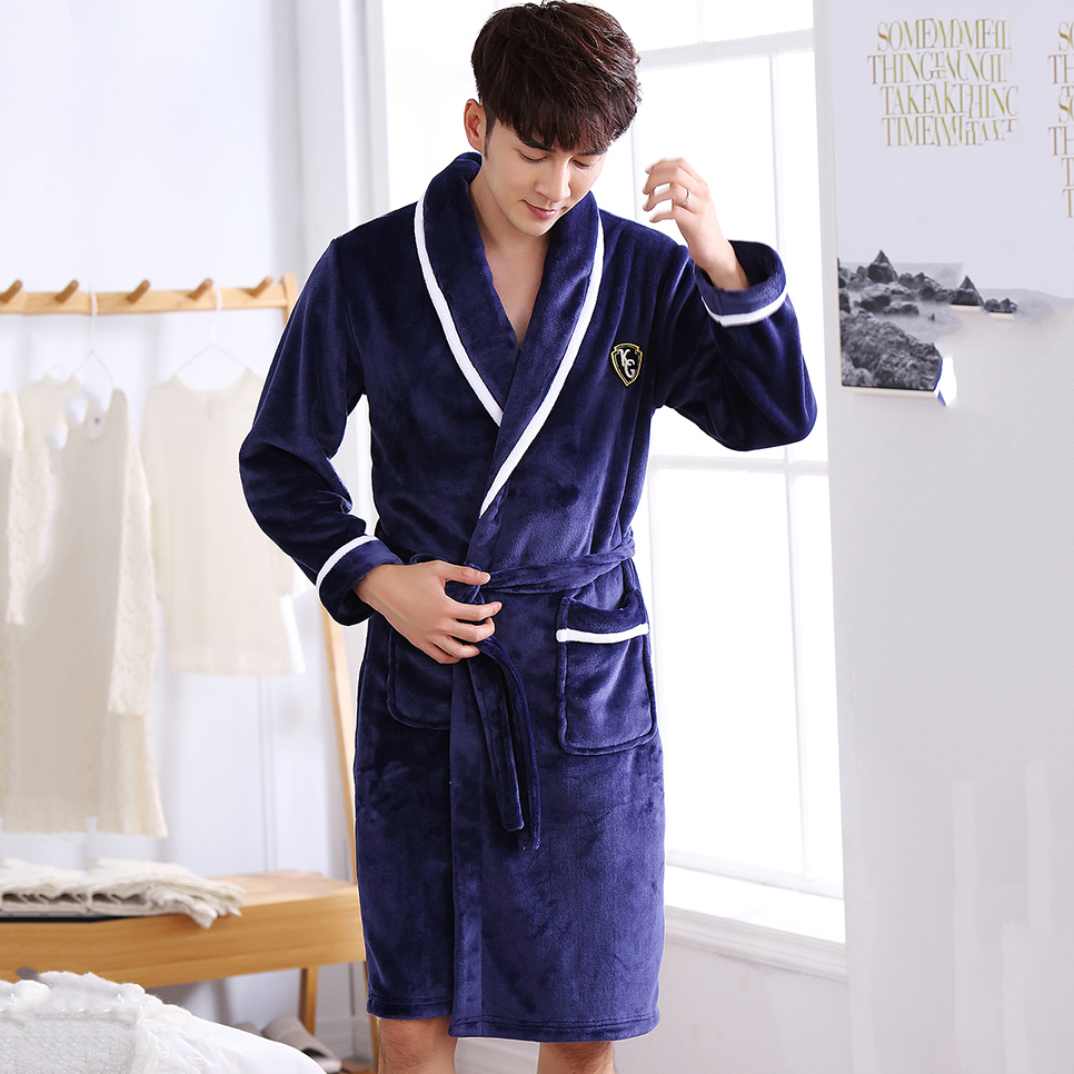Nightgown Male Bathrobe Sleepwear Kimono Long-Robe Flannel Warm Winter Plus-Size Men title=