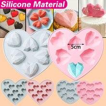 3d diamante amor coração forma bolo de silicone molde de cozimento fondant bolo modelagem ferramentas de decoração diy doces mousse moldes de chocolate