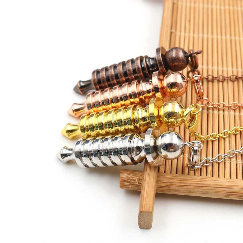 Metal Pendulums for Dowsing Divination Reiki Healing Spiritual Wicca Women Men Amulet Screw Shape Pendule Chains Charm Jewelry 4