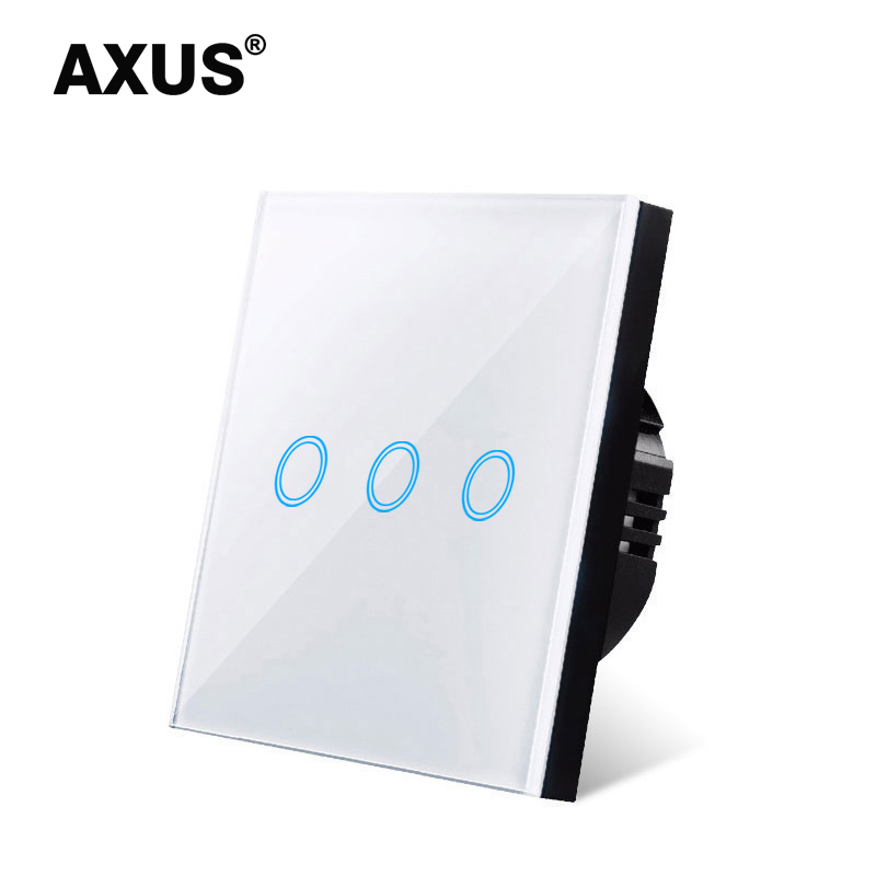 AXUS EU AC100-240V Tempered Black/ White Crystal Tempered Glass Touch Switch Power Led Panel Wall Light Switches 1/2/3 Gang 1Way