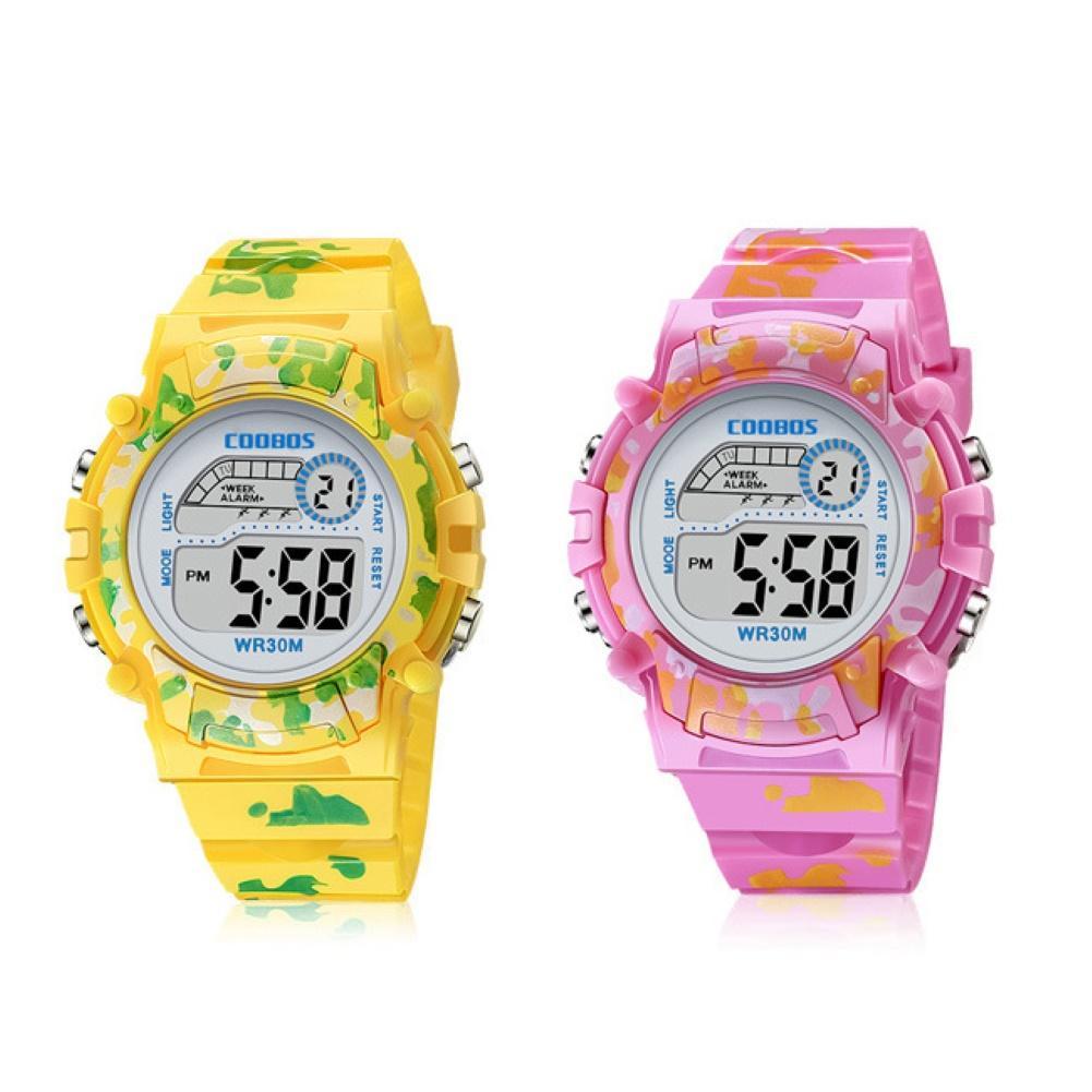 Fashion Kids Sports LED Display 3Bar Waterproof Date Week Alarm Clock Digital Unisex Children Watch