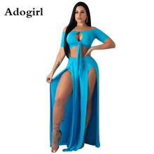 Adogril Off The Shoulder Tie Up Crop Top and High Split Slim Maxi Skirt Sexy 2 Piece Suit Women Set Beach Sexy Party Club Wear women summer beach grid bohemian off shoulder tassel splicing top side split maxi skirt suit two piece set dress 4 color s3554