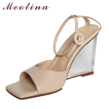 Meotina Ankle Strap Real Leather Super High Heel Sandals Transparent Wedges Heels Women Shoes Square Toe Lady Sandals Brown 40