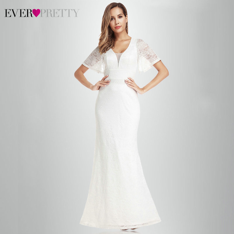 Elegant White Lace Wedding Dresses Ever Pretty EP00917 A-line Short Sleeve V-Neck See-Through Elegant Bride Gowns Suknia Slubna