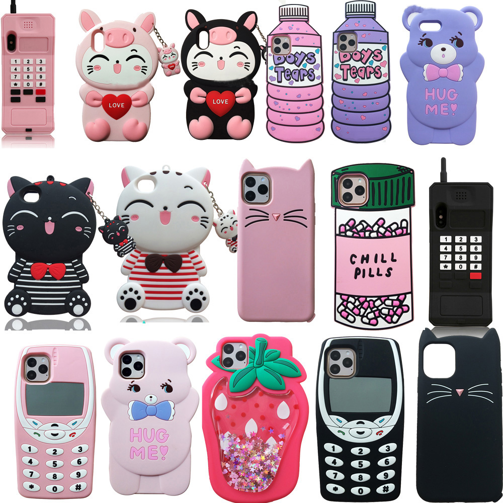 Para o iphone 5 5S 5c se 6s plus 3d caso de silicone macio telefone capa traseira pele escudo para iphone 7 8 plus x xs xr 11 pro max caso