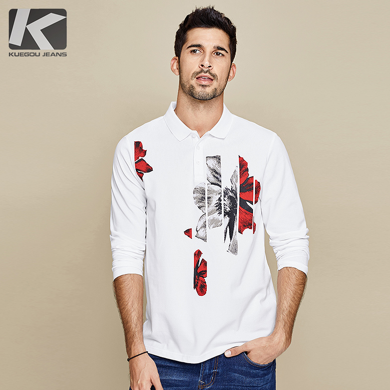 KUEGOU 2019 Autumn Cotton Print White Black Polo Shirt Men Fashions Long Sleeve Slim Fit Poloshirt Male Clothes Brands Top 3124