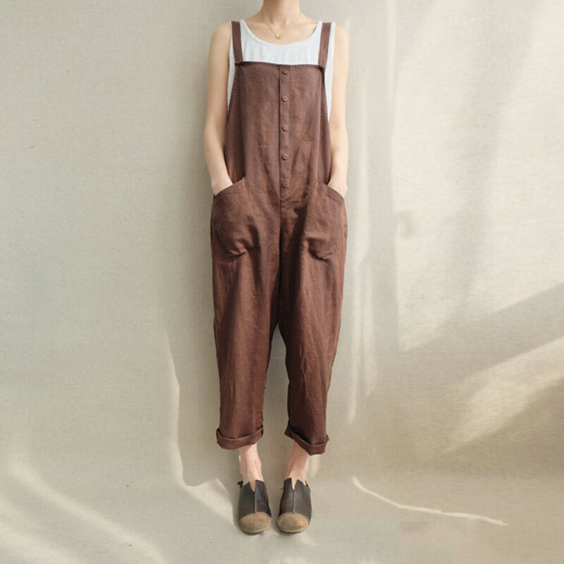 Women Dungarees Harem Strap Pants Loose Jumpsuit Trousers Overalls Pants