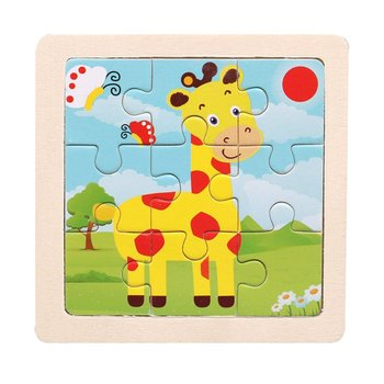 Wooden Small Puzzle Children's Puzzle 9 Pieces Of Woody Forest Animal Shape Story Puzzle/Traffic Puzzles/Idiom Puzzle Toy Puzzle image