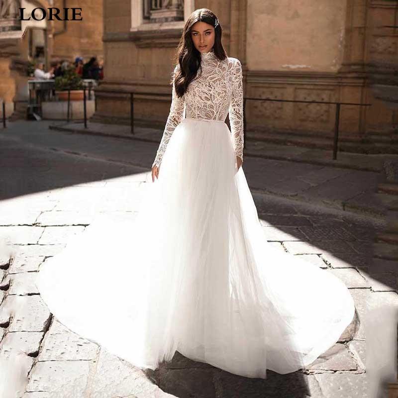 LORIE A Line Muslim Wedding Dresses Long Sleeve High Neck Lace Boho Bride Dresses Vestidos De Novia