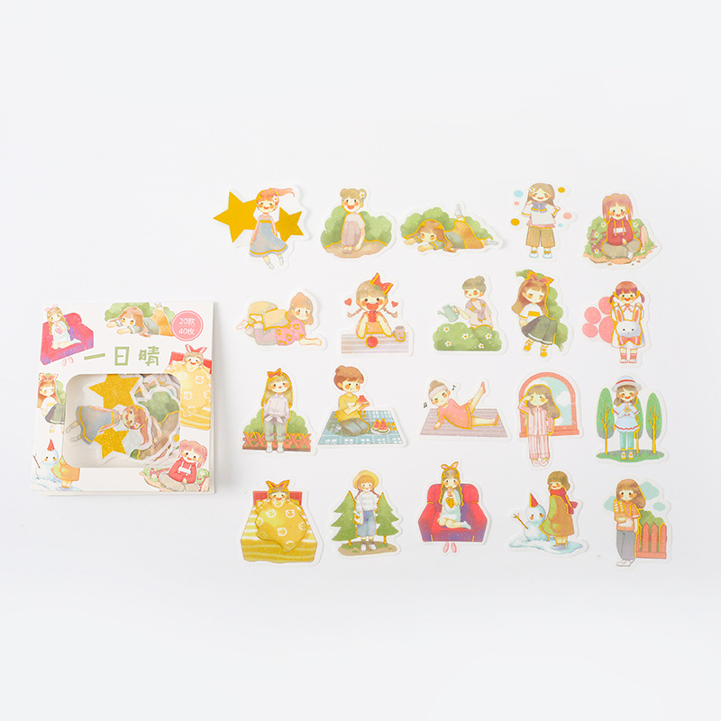 40 pcs/ Bag Girls Sunny Happy Day Diary Decorative Stickers DIY Sealing Paste Stickers