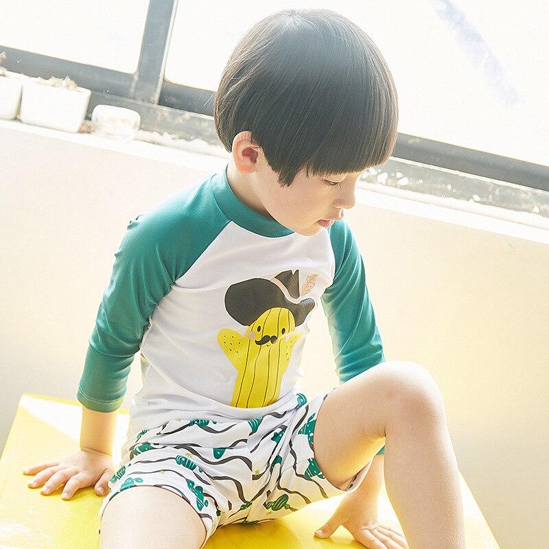 Creative Design KID'S Swimwear BOY'S Swimming Trunks Three-piece Set Cactus Cartoon Pattern CHILDREN'S Swimsuit Wholesale