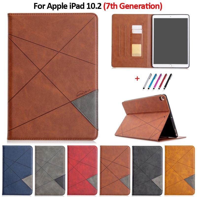 random color Purple Luxury Flip PU Leather Tablet Case For iPad 10 2 2019 Wallet Stand Funda For iPad
