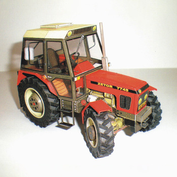 1:32 Czech Zetor 7745-7211 Tractor DIY 3D Paper Card Model Building Set Educational Toys Military Model Construction Toy image
