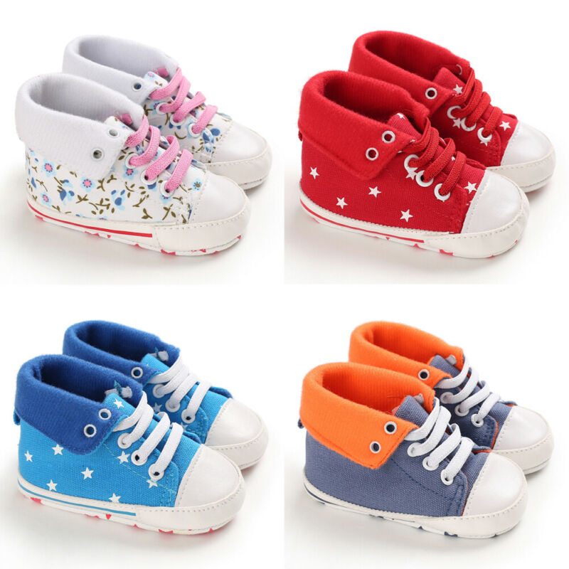 Pudcoco 0-18M Toddler Kid Baby Boy Girl First Walkers Canvas Soft Sole Crib Shoes Infant Sneakers 0-18 Months
