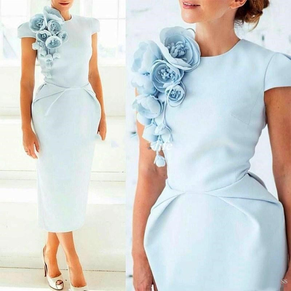 Arabic Light Blue Cap Sleeves Satin Sheath Cocktail Dresses Cap Sleeves 3D Flowers Tea Length Short Party Evening Prom Dresses